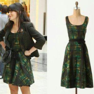 Maeve Green Painted Plaid Dress Fit and Flare